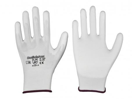 Nylon-Feinstrick-Handschuh mit PU-Beschichtung • weiß • CE CAT 2