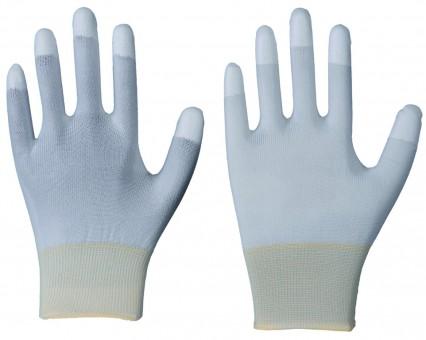 Feinstrick-Handschuh • CE CAT 2 • weiß • Fingerkuppen mit PU-Beschichtung