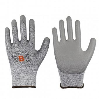 Feinstrick-Handschuh • PU-Beschichtung • Farbe: grau • Schnittschutz Stufe B
