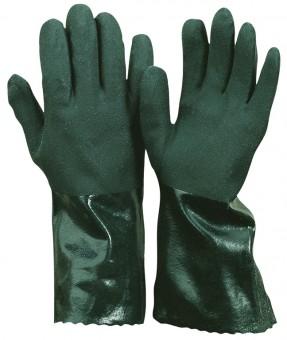 PVC-Handschuh • gesandet • CE CAT 3 • Farbe: grün • vollbeschichtet • Länge 35 cm