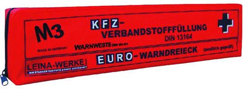 Kombitasche aus rotem Nylon, DIN 13164 in Folientasche, Maße: 43 x 11 x 7 cm